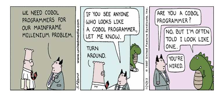 Scott Adams: Dilbert is looking for COBOL Engineer