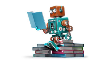 Retro Robot Reading A Book
